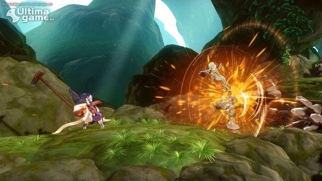La protagonista Sakuna y el sistema de combate en 2D en las luchas contra los enemigos